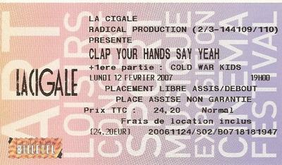 Le Choix des Lecteurs # 152 : Clap Your Hands Say Yeah - La Cigale Paris - 12 février 2007