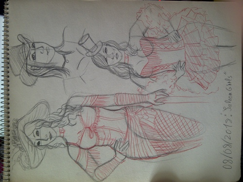 Doodles du soir : Saloon Girls