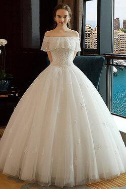 Robe de mariée en encolure bateau en tulle