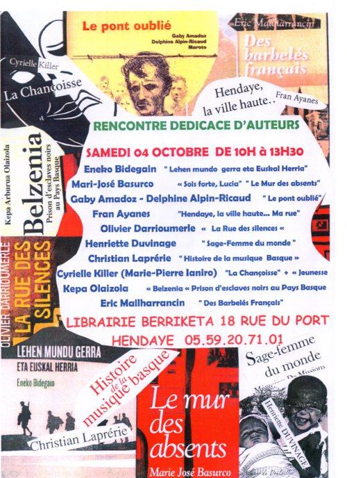 En dédidcace le samedi 4 octobre, à la librairie Berriketa d'Hendaye