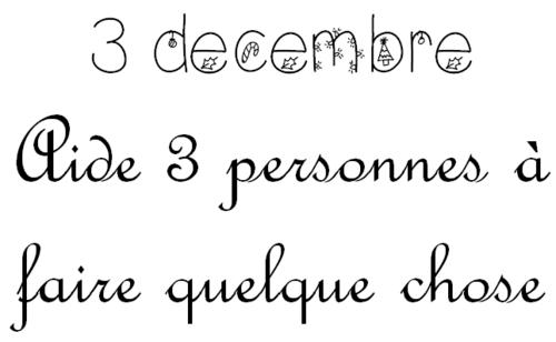Mardi 3 décembre: calendrier de l'Avent