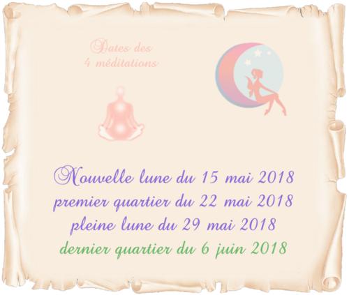 Dates des 4 méditations de mai/juin 2018