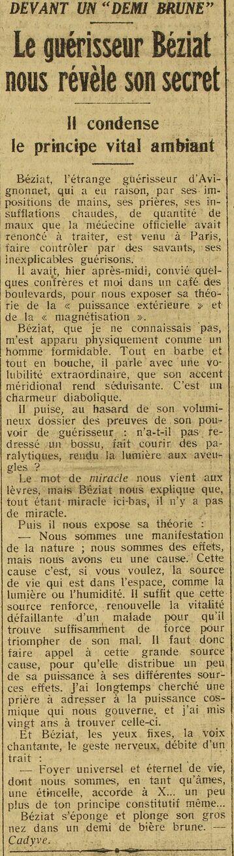 Le guérisseur Béziat nous révèle son secret (Paris-midi, 13 mai 1925)