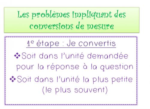 les problèmes impliquant des conversions