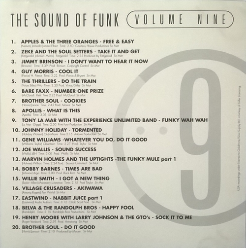 """Various Artists : CD """" The Sound Of Funk 9 """" Goldmine Soul Supply Records GSCD 67 [ UK ]"""
