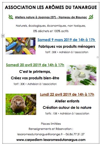 Newsletter Mars 2019: Le printemps est là aux Arômes du Tanargue