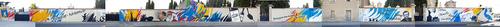 Realisation d'une oeuvre originale 83m x 4m sur le mur d'entrée de la commune de Puisserguier (34) Juillet 2017. Les personnalités de Puisserguier aux valeurs humaines de résistance et de probité vous