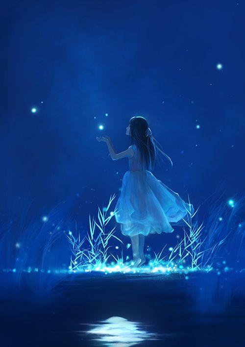 grafika blue, anime, and stars: