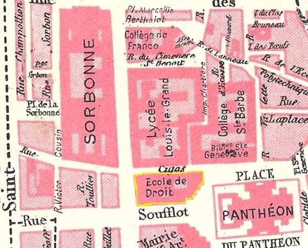 Plan de la Faculté de Droit de Paris après les travaux d'extension de ses bâtiments (plan postérieur à l'année 1897)