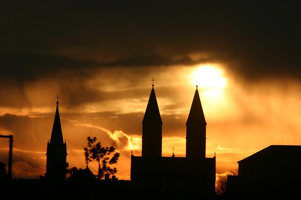 Église, Clocher, La Religion, Silhouette, Or, Ciel