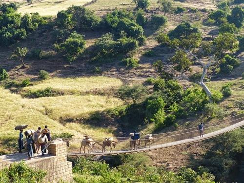 un pont suspendu sur le Nil