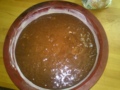 un gâteau Reine de Saba...chocolat et Amande...