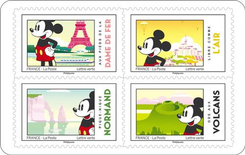 Carnet Mickey et la France - 2018 - 12 timbres autocollants