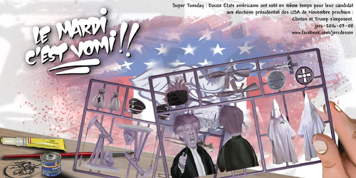 JERC 2016-03-08, caricature Donald Trump n'est pas raciste, Robert Menard veut s'inspirer de ses propositions !! www.facebook.com/jercdessin Cliquer sur la photo pour voir en plus grand