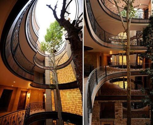 L'architecture et les arbres.... Très beau....