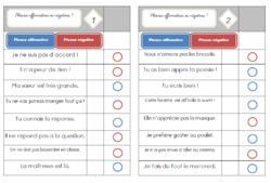 Les cartes à choix multiples : Les phrases affirmatives et négatives