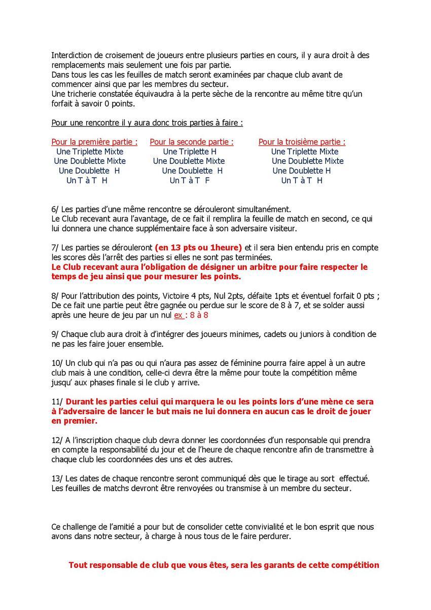 ATTENTION NOUVEAU RÈGLEMENT DU CHALLENGE SECTEUR