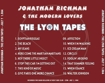 Pleins Feux sur The Modern Lovers (6): Jonathan Richman - West-Side Club - Lyon - 7 juillet 1984