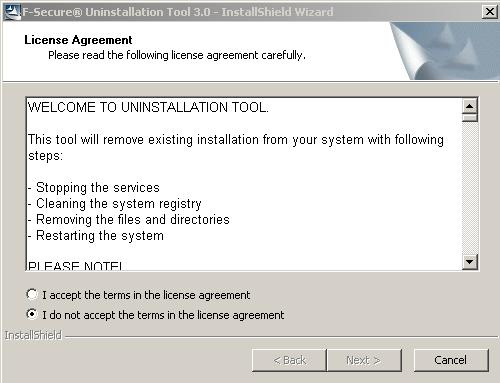 F-Secure Uninstallation Tool