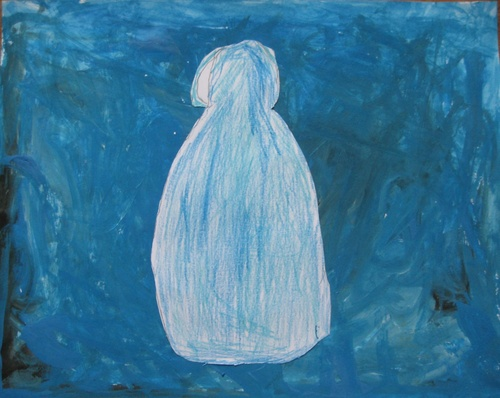 Chien bleu, à la manière de René Magritte