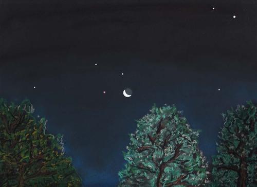 Mars, Jupiter et croissant de lune au petit déjeuner