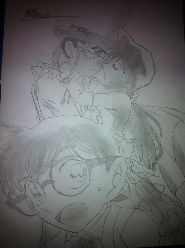 Dessin - Kaito sur le point d'embrasser Ran sous les yeux de Conan