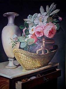 Nicolas-Berjon-Bouquet-de-lis-et-de-roses-dans-une-corbeill