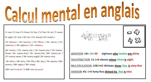 Calcul mental en anglais
