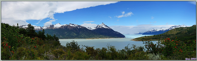 Le Brazo Rico du Lago Argentino avec le glacier Perito Moreno et le Cerro du même nom - Patagonie - Argentine