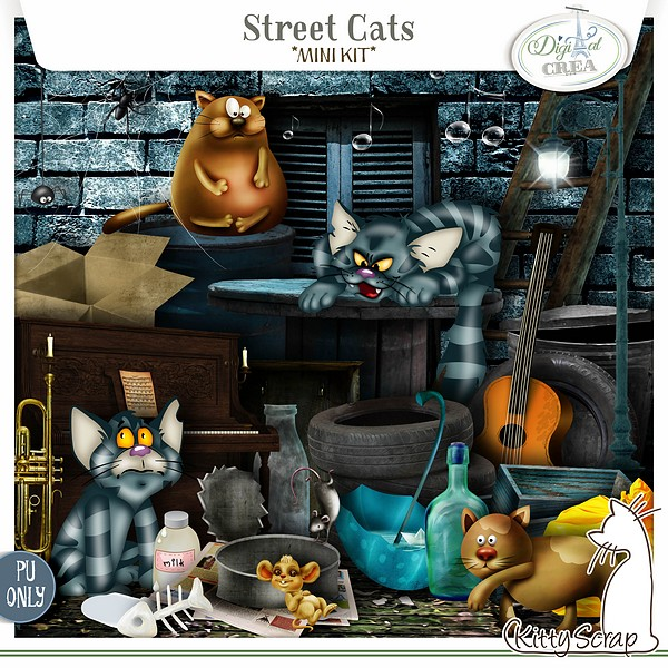 mini kit street cats de kittyscrap