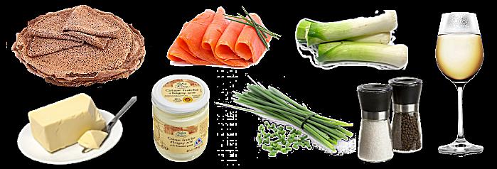 Galette de saumon fumé et fondue de poireaux