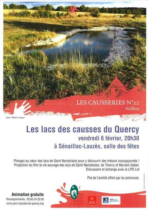 06 Février salle des Fêtes :Les Lacs des Causses du Quercy