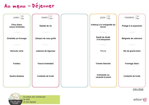 menu de la PS au CP du 10 au 14 février