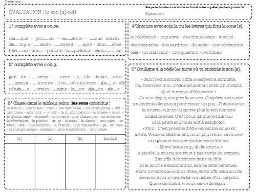 évaluation valeurs des lettres S et C - ce1 ce2