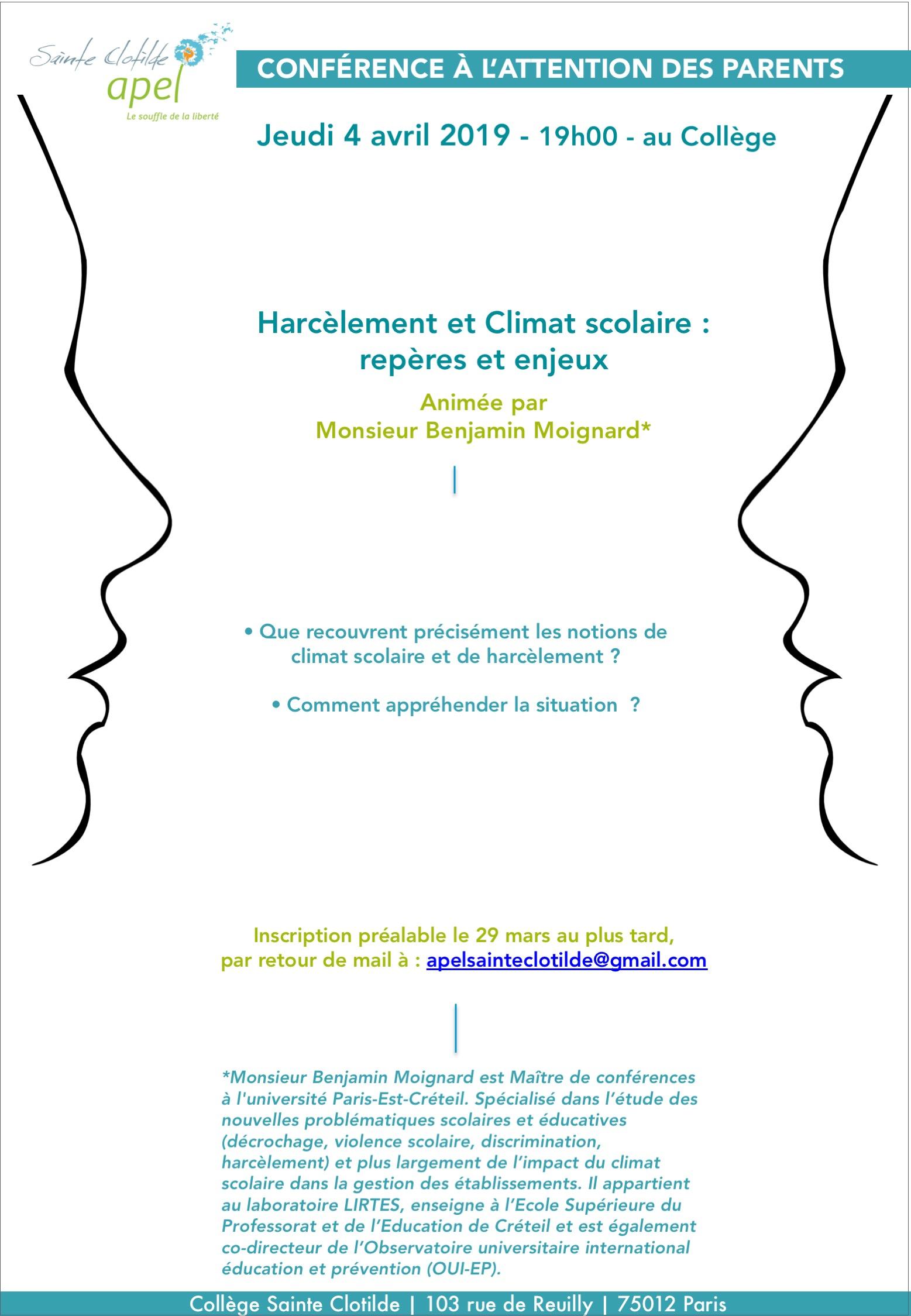 Conférence Climat Scolaire & Harcèlement