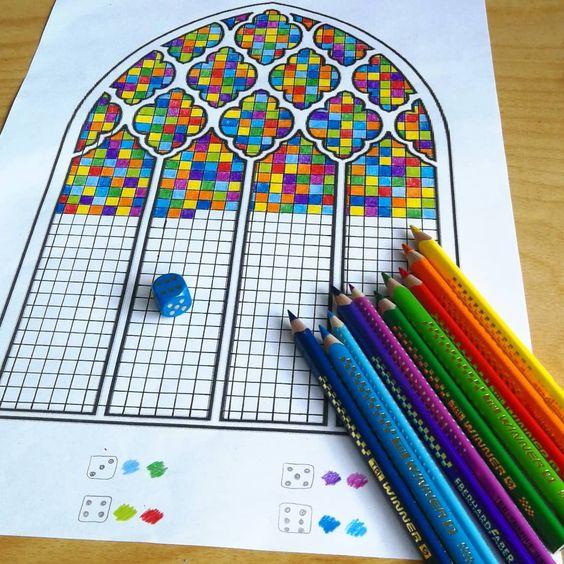 """Idée arts CE2 : """"Le vitrail aléatoire"""" (Pinterest)"""
