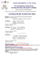 Présentation du 12ème Grand Prix cycliste UFOLEP de St André