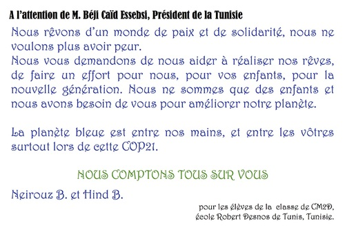 COP21 Messages à Béji Caïd Essebsi CM2D