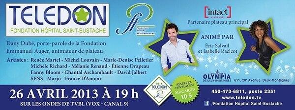 Jason sera au Télédon de Hôpital Saint-Eustache le 26 avril prochain