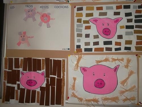 Arts visuels et les tois petits cochons