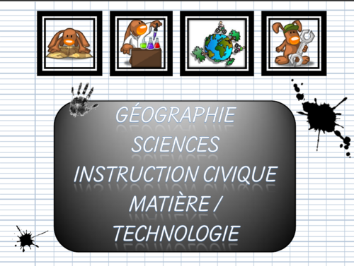 Page de garde classeur géo/sciences/instruction/matière/techno