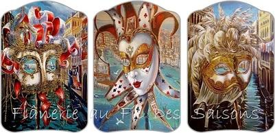 """Cartonnettes """" Masques Venise """""""