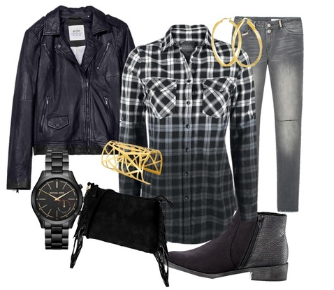 *Lookbook: noir et gris avec ma chemise à carreaux