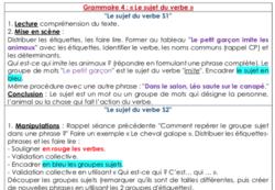Grammaire 4 : « Le sujet du verbe » (CE1)