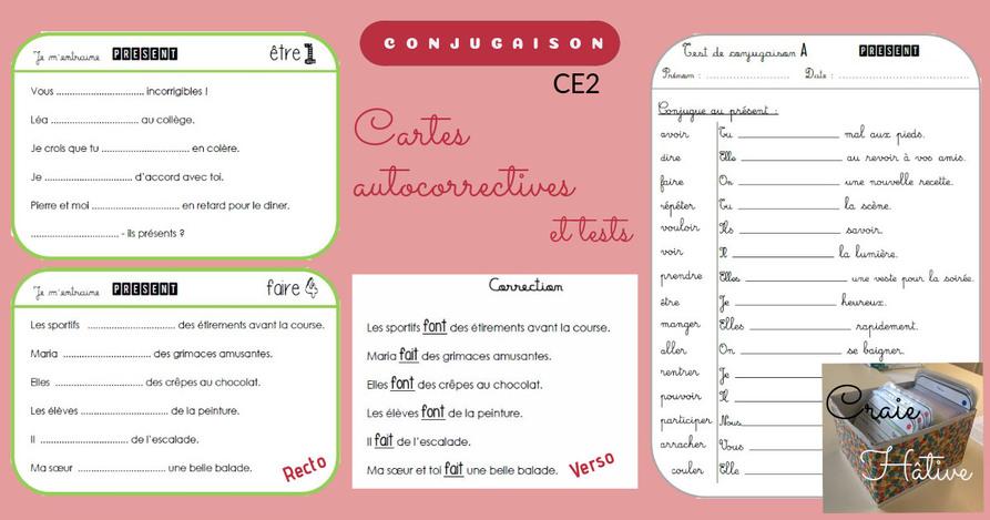 Exercices De Conjugaison Cartes Et Tests Pour Le Ce2 Craie Hative
