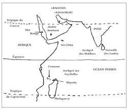 carte pour retracer le voyage de Sindbad