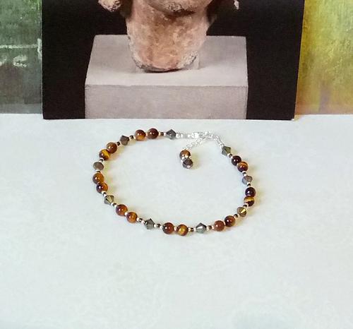 V2 - Bracelet pierre Oeil du Tigre 4mm et cristal de Swarovski / Plaqué argent