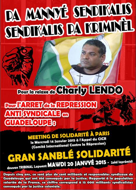 Répression antisyndicale colonialiste en Gwadloup : solidarité avec l'UGTG... nous sommes Charly !