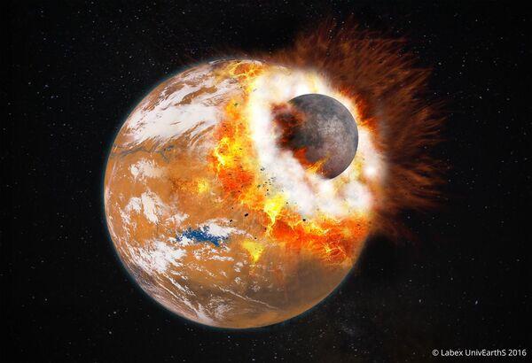 Vue d'artiste de l'impact géant qui aurait donné naissance à Phobos et Deimos et au Bassin boréal. L'impacteur devait faire environ le tiers de la taille de Mars. À cette époque, la Planète rouge était jeune et possédait peut-être une atmosphère plus épaisse et de l'eau liquide en surface. © Université Paris Diderot, Labex UnivEarthS