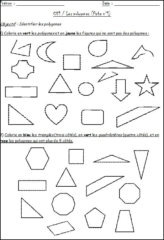Fiche ce1 polygones